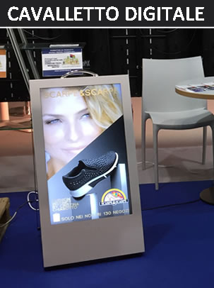 cavalletto digitale LCD per fiere, event‍i e centri commerciali
